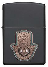 "Zippo Lighter - ""Hamsa Hand - Emblem"" No 29634 - New on black matte finish"
