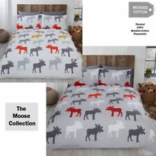 Moose Animal 100% Brushed Cotton Flannelette Duvet Quilt Cover Bedding Set