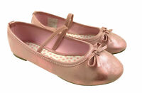 GIRLS SLIP ON BALLERINA DOLLY PUMPS SHOES BOW DETAIL PINK SIZE UK 7 - 2.5