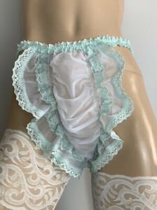 Vtg Semi Sheer 20 Denier Nylon ~ Discreet Tanga Sissy Panties ~ White/Mint