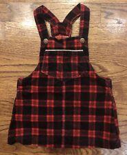 Osh Kosh B'Gosh Red Plaid Velveteen Jumper Dress Baby Girls Size 18 Months EUC