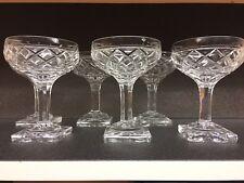 6 coupes à champagne en cristal Ste Hélène taille losange.Val St Lambert