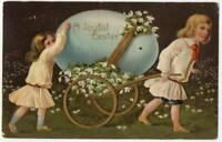 030921 VINTAGE PFB EASTER POSTCARD CHILDREN PULLING A GIANT EGG ON A CART 1908