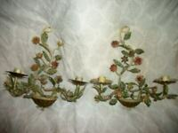 1930s ITALIAN TOLE CANDLE SCONCES FLORAL CHIPPY FRENCH FARMHOUSE 2 PAIR AVAIL