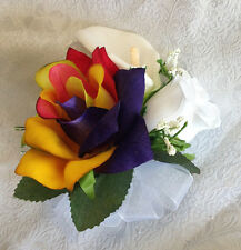 RAINBOW ~ Pin On CORSAGE ~ Roses Calla Lilies LGBT Silk Wedding Flowers PROM