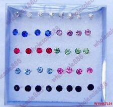 20 Pair 4mm Women Fashion Wholesale Rhinestone Crystal Round Ear Stud Earring