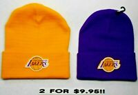 READ LISTING!Los Angeles Lakers HEAT APPLIED Flat Logos on 2 Beanie Knit Cap hat