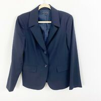 LAFAYETTE 148 New York Womens Work Career Blazer Jacket Blue Size 10 Wool Blend