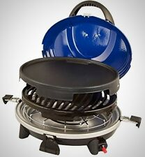Portable Gas Stove Cooker BBQ 3-in-1 Burner Valve Blue Compact Barbecue Grill UK