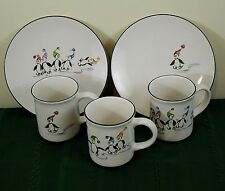 2 SALAD PLATES + 3 COFFEE MUGS PFALTZGRAFF PENGUIN SKATE CHRISTMAS HOLIDAY