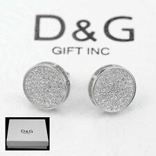 DG Men's Sterling Silver 925.Iced-Out 9mm CZ Round*Earring Screw-Back*Unisex.Box