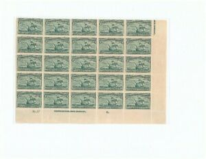 US #232 3c Columbian Half sheet of 25 w/Imprint Plate Block MNH