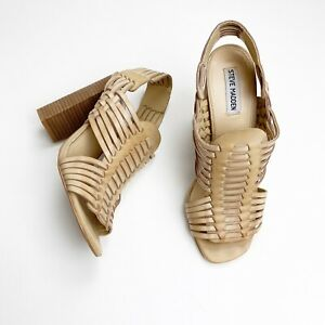 Steve Madden Size 10 SUTTON Leather Block Stacked Heels Sandals Hippie BOHO