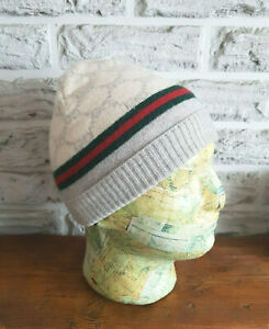 Gucci Wool and Cashmere GG Beanie Hat Size S