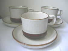 DENBY - POTTERS WHEEL - SET OF 3 CUPS AND SAUCERS - SECOND QUALITY - GOOD USED*k