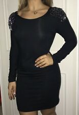 BLACK DRESS UP TOPSHOP BODY CON DRESS WITH BEADED SHOULDERS SIZE 12