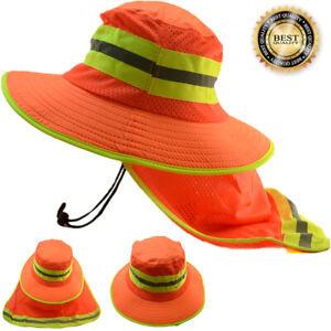 Hi Visibility Reflective Work Safety Neck Flap Boonie Hat Neon Orange Bucket Cap