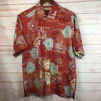 Tommy Bahama Mens Silk Hawaiian Aloha Shirt Red Stripe Floral Size Large L