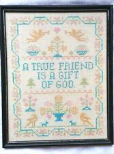 "Vtg Sampler Cross Stitch ""A True Friend Is A Gift Of God"" Shabby Cottage Framed"