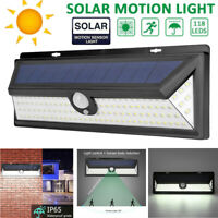 118LED Solar Powered PIR Motion Sensor Wall Light Outdoor Garden Lamp Waterproof