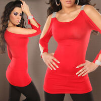 Sexy Women Clubbing Blouse New Ladies Party Open Sleeve Slit Top Size 6 8 10 12