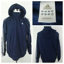 ADIDAS ClimaProof Spell-Out Full-Zip Hooded Windbreaker Navy Jacket Men M