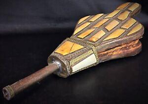 Ancien soufflet de cheminée du Maroc décors mosaïque et cuivre ciselé