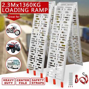 1360KG Folding Loading Ramps 2 X 2.3M Aluminium Quad ATV Motorcycle Bike Trailer