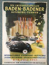 Original 1951 Baden-Badener cartel de eventos del automóvil club