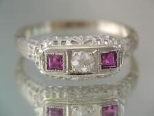 ANTIQUE ART DECO 14K WHITE GOLD FILIGREE DIAMOND & RUBY RING SZ 7