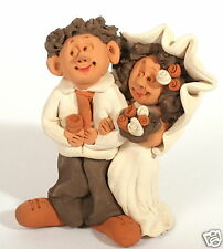 Happy Love Bride & Groom Wedding Figurine Handmade Clay Engagement Marriage Gift