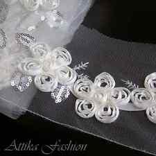 Romantic --- Silky Embroidered Sequin Lace Trim *per yard*