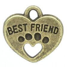 10 ANTIQUE BRONZE PAWS/BEST FRIEND HEART CHARM/PENDANT~Dog/Cat~NECKLACE (79F) UK