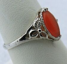 Pleasing Sterling Silver .925 Estate Orange cat's eye Hand Crafted Ring size 9