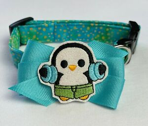 Summer Splash Penguin Dog Collar & Bow Size S by Doogie Couture