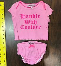 Juicy Couture Baby Infant Outfit Ruffle Size 0 3 Months Diaper Cover Shirt