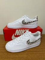 Nike Women's Court Vision Low Shoes White Leopard Print DD9665-100 NEW