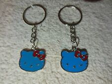 "Hello Kitty """" Blue / silver tone """" Keychain Ring** Lot-of-2** Free Shipping"
