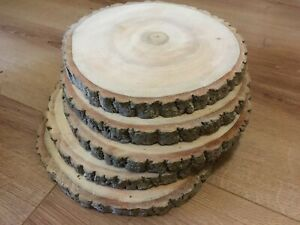 10x Real wood Log Slices Dried Sanded With All Bark On 18-20x2cm