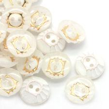 20 Stück Acrylknöpfe Rund Weiß Gold, 2 Löcher, Durchmesser 13mm Basteln Knöpfe