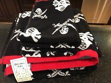 Pirate Bath Towels Black Red White Set Of (4) NWT