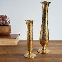 Vintage Glastonbury Lotus gold encrusted vases Daisy Fields small, tall vase set
