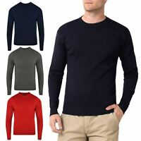 Mens Crew Neck Office Jumper Pullover Plain Warm Winter Sweater Top Sweatshirt