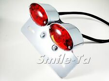 RED / Chrome Motorcycle Motorbike LED Rear Stop Tail Light Trike Project **