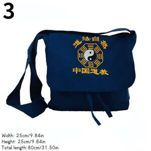 Men Chinese Embroidery Canvas Bag Zipper Taoist Bag Shoulder Bag Tai Chi Bagua