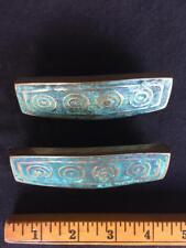 Two PEPE MENDOZA Drawer Pulls circa 1958 Brass/Turquoise Ceramic Inlay Mexico