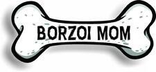 "Dog Mom Borzoi Bone Car Magnet Bumper Sticker 3""x7"""