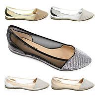 Women Ladies Diamante Ballets Sparkly Flats Shoes Point Ballerina Pumps Size UK