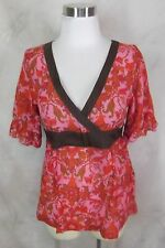 Anthropologie Top Tunic Size 2 Pink Brown Floral Cotton Voile by Odille