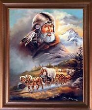 Western Covered Wagon Cowboy Picture Mahogany Framed Wall Decor Art Print 18x22
